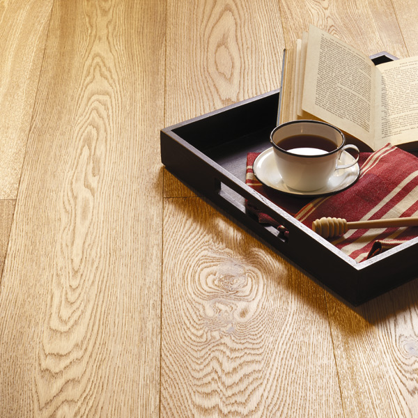 Tea and Books in Tray on Heartridge Timber Woodland Oak Flooring Detail