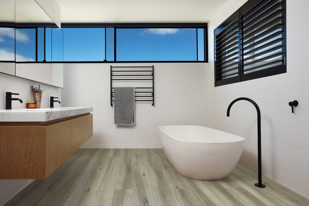 Luxury Vinyl Plank Natural Oak Flooring in Moonstone in Bathroom