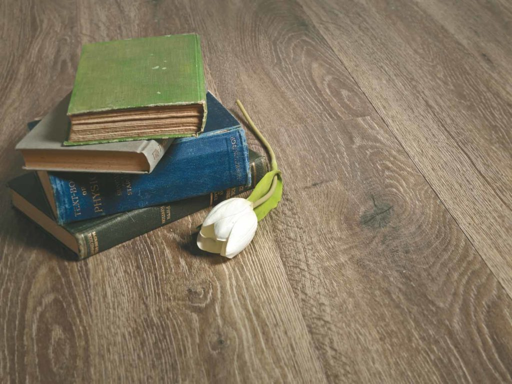 Books and Flower on Luxury Vinyl Plank Windspray Colour