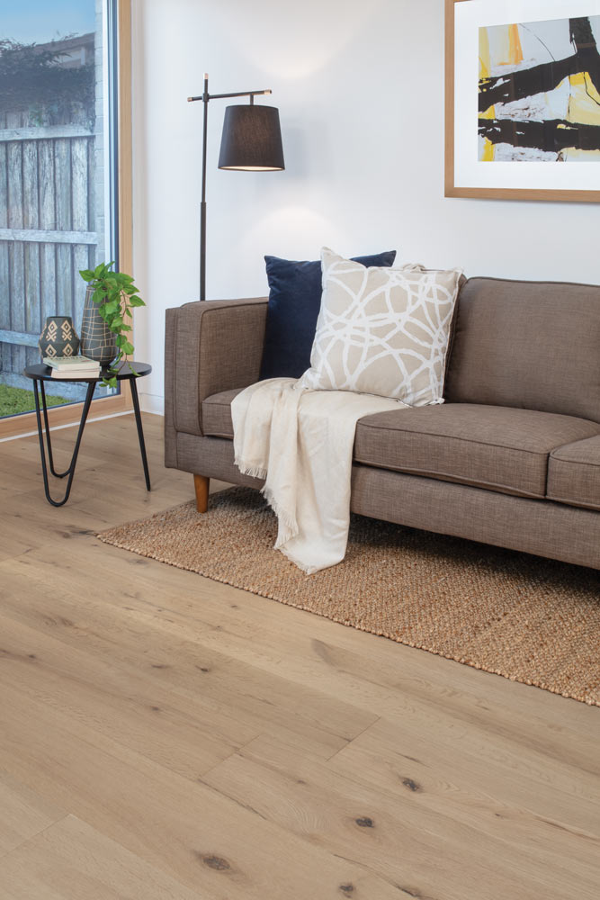 Engineered Timber Riviera Oak Click Flooring in Bora Colour Living Room