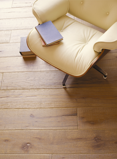 Engineered Timber Vintage Oak Flooring in Roasted Barley Colour Beige Chair